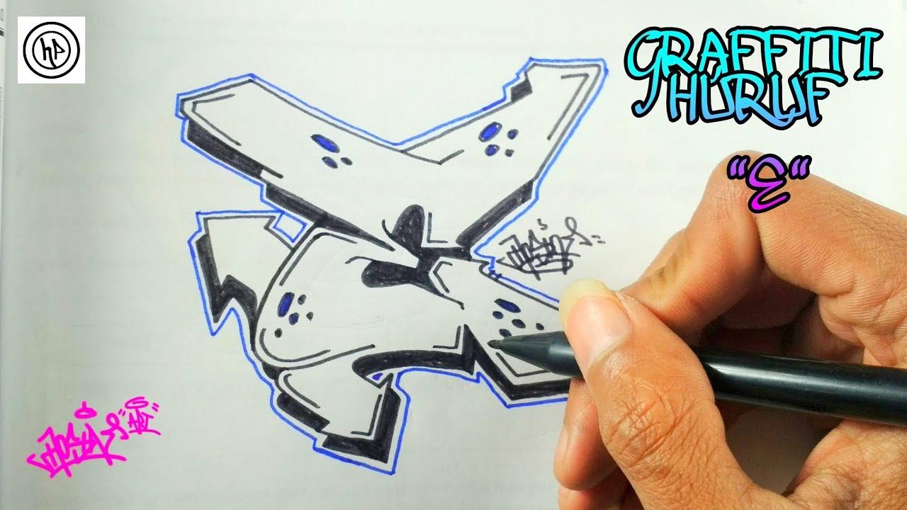 gambar grafiti huruf e 3d  black and blue 3d 4k wallpaper