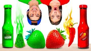 ¡DESAFÍO DE COLORES! || Comemos comida de un color por 24 h y bromas graciosas por 123 GO! BOYS