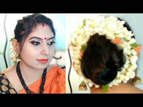Easy Beautiful Bun With Thin Hair For Festival I Easy Gajra Bun /Juda Hairstyle with Jasmine ...
