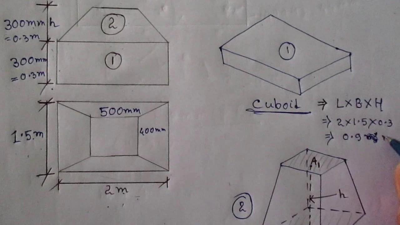 volume of trapezoidal footing