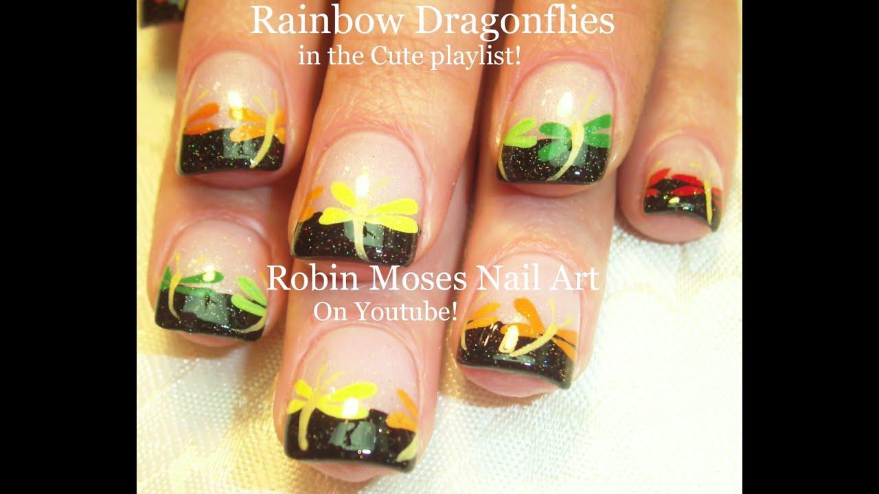 Nail Art Tutorial | Easy Rainbow Nails | Dragonfly Nail Design - YouTube - Nail Art Tutorial Easy Rainbow Nails Dragonfly Nail Design