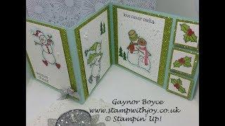 Fancy Tri Fold Spirited Snowmen Card x x