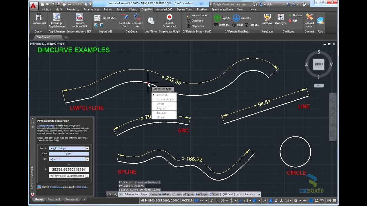 DimCurve - dimensioning curve length in AutoCAD