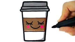 HOW TO DRAW A CUP OF COFFEE EASY STEP BY STEP - COMO DESENHAR UM COPO DE CAFÉ KAWAII
