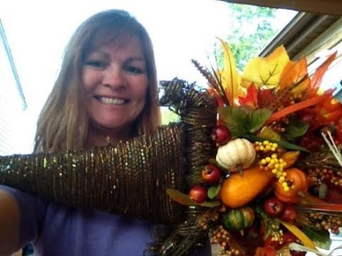 Make A Cornucopia Wreath With Dollar Tree Supplies Youtube