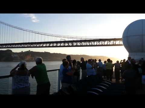 Celebrity Eclipse going under 25 de Abril Bridge (Portugal) 17/10/13