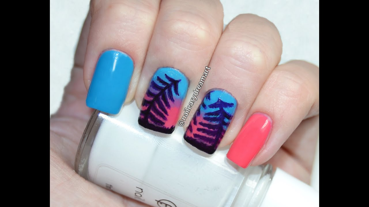 Winter Tree Ombre Sunset Nail Art |   ...