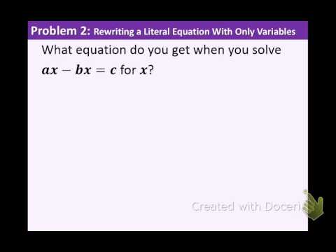 Algebra 1: 2.5: Literal Equations and Formulas