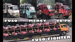 Truck FUSO HINO MERCY Muatan Motor & Mobil, Truk Tronton ISUZU Muatan Berat melewati Tikungan Timez