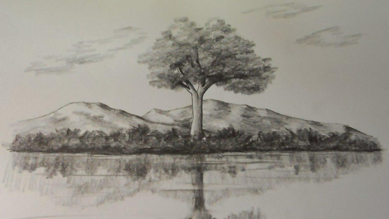 Como Dibujar Reflejos De Naturaleza En El Agua Estudio De Reflejos A Lápiz