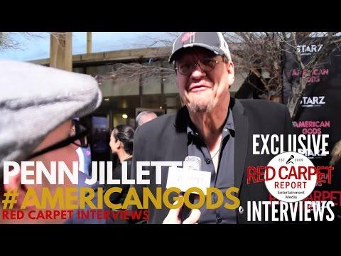 "Penn Jillette interviewed at the premiere of Starz ""American Gods"" Original Series #AmericanGodsSTZ"