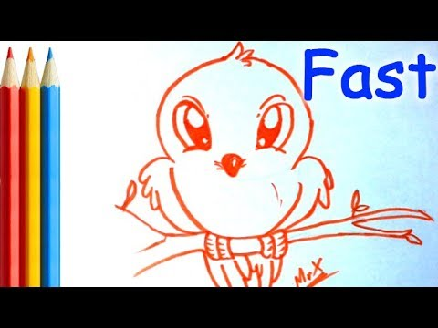 How To Draw Cute Bird For Kids Showing Step By Step Easy Youtube