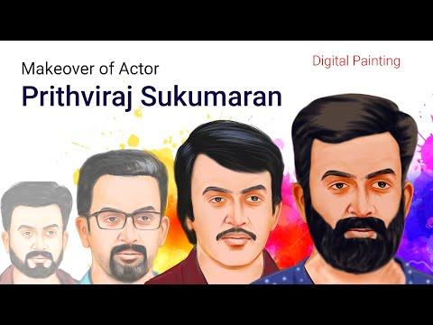 Makeover of Actor Prithviraj Sukumaran | DIGITAL PAINTING | Different roles dialogue | Malayalam