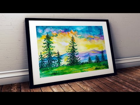 WATERCOLOR PAINTING FOR BEGINNERS HOW TO PAINT SUNRISE SCENERY MOUNTAIN RANGE LANDSCAPE STEP BY STEP