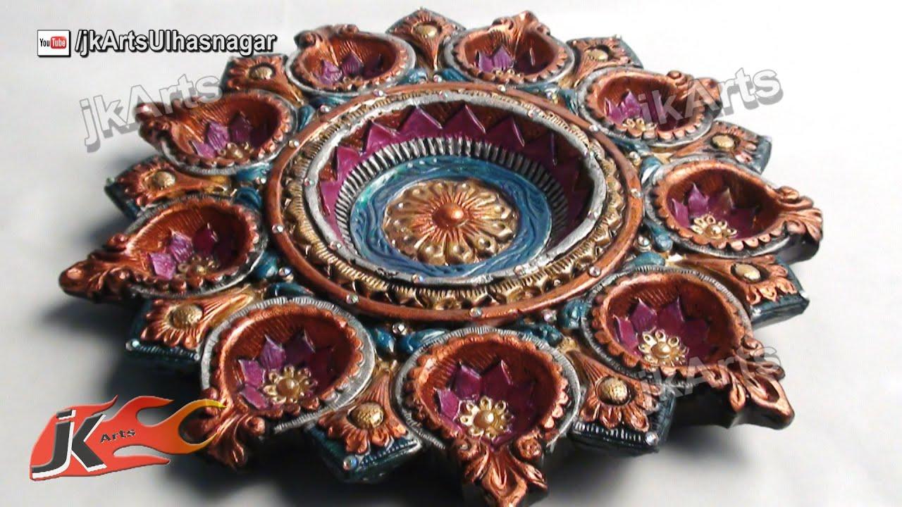 Diy how to decorate diwali diya tray diwali home for Diya decoration youtube