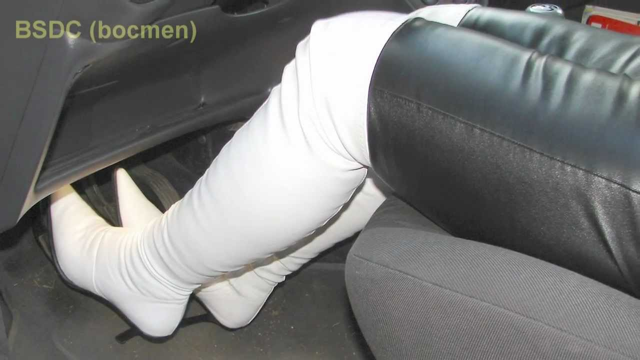 Pedal Pumping In White Boots