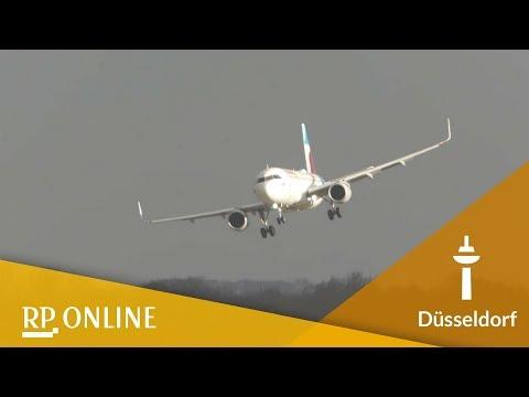 Flughafen Düsseldorf: Planespotter filmt spektakuläre Landungen während Sturm Friederike