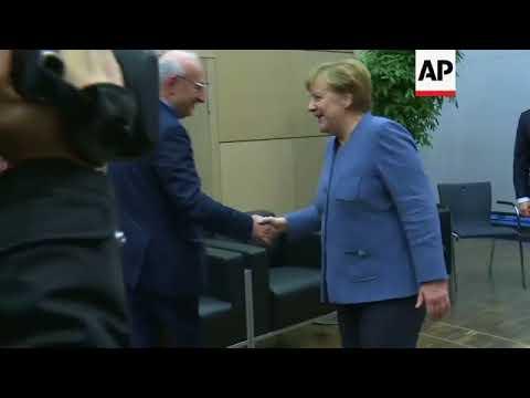 Macron holds meetings with Merkel, Guterres
