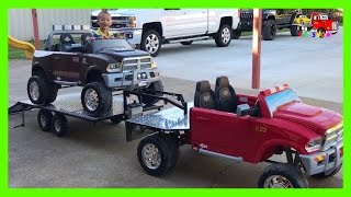 Playing With Custom Built Gooseneck Trailer Flatbed Truck Hauling Powered Ride On Dodge Ram 12 Volt thumbnail