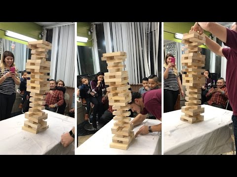 Brave Lad Pulls Off Incredible Jenga Move