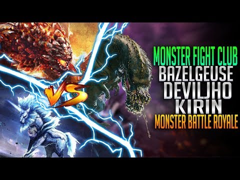 Battle Royale! Bazelgeuse VS Deviljho VS Kirin! Monster Hunter World PC Fight Club