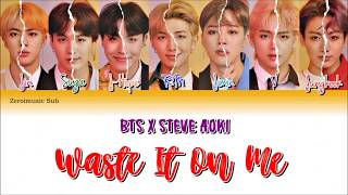 BTS (방탄소년단) & Steve Aoki - Waste It On Me - 가사 (Sub español+Eng Sub+Lyrics+Colorcodedlyrics) (Prev