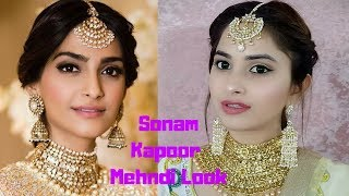 Sonam Kapoor Mehndi Look + Indian Wedding Makeup Tutorial || Nehalovesfashion