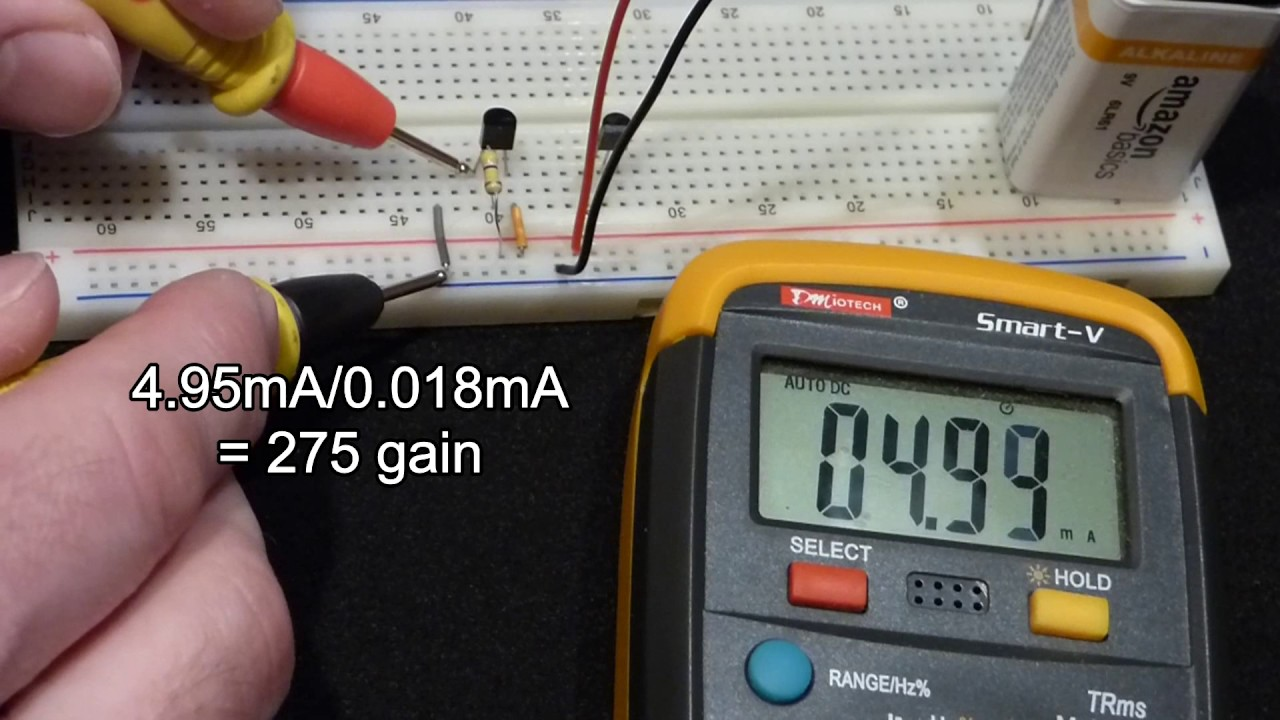 Breadboard Gain Test And Multimeter Hfe Of 2n2222 2n3904 Circuits Components Transistors Transistor As A Current Npn Bipolar