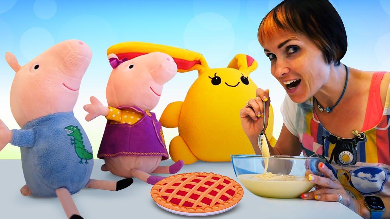 Свинка Пеппа и Лаки готовят шарлотку. Рецепты с Машей Капуки Кануки. Видео с игрушками