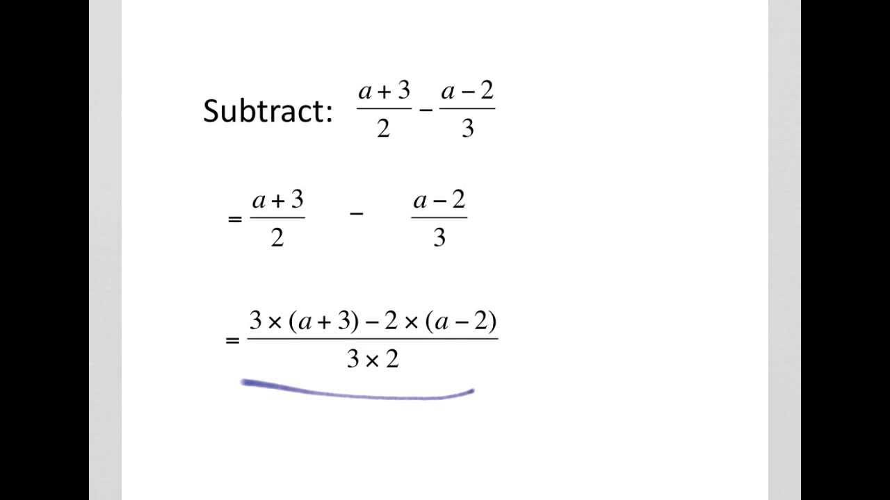How To Add And Subtract Algebraic Fractions Youtube How to solve adding algebraic fractions