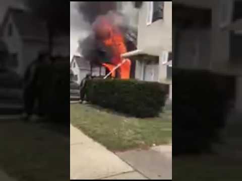 CFD house fire part 1  deck gun knock