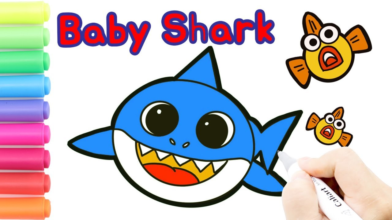 Coloring Baby Shark Pinkfong Coloring Pages How to draw
