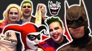 JOKER & HARLEY QUINN vs BATMAN FAMILY vs COMIC CON! Epic Flash Mob Invasion Prank