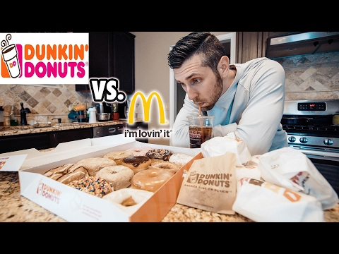Dunkin Donuts Menu Challenge - DD Vs. McDonalds Best Fast Food Breakfast?