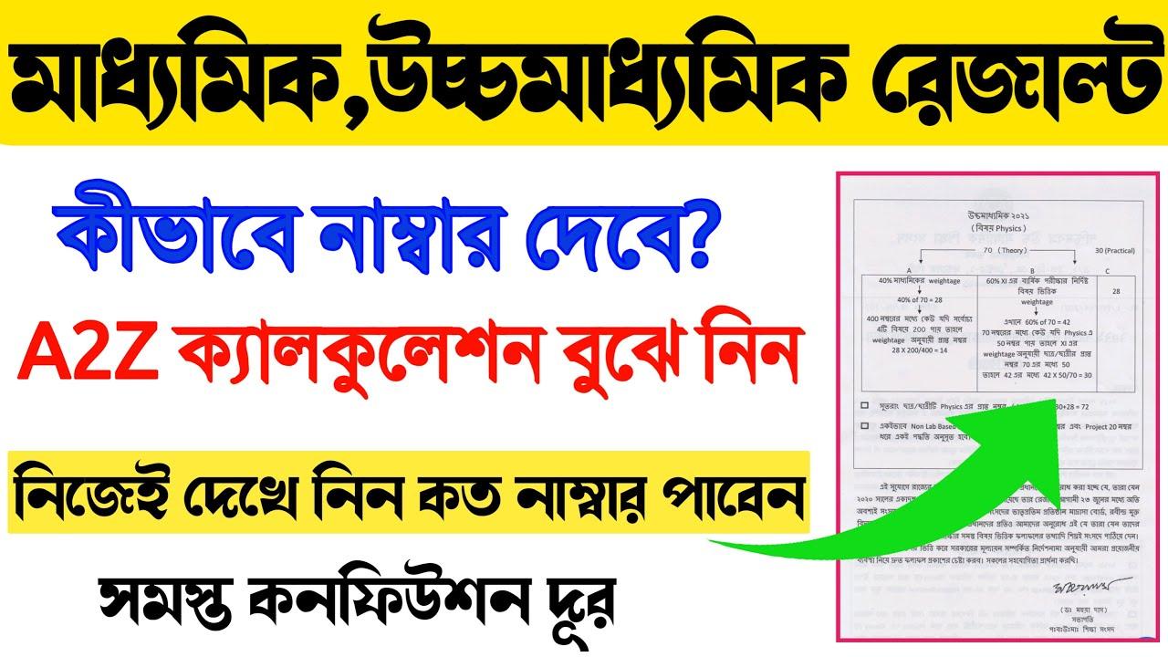 নিজেই দেখে নিন মাধ্যমিক/উচ্চমাধ্যমিকে কত নম্বর পাবেন | A2Z ক্যালকুকেশন | Madhyamik HS 2021 Result