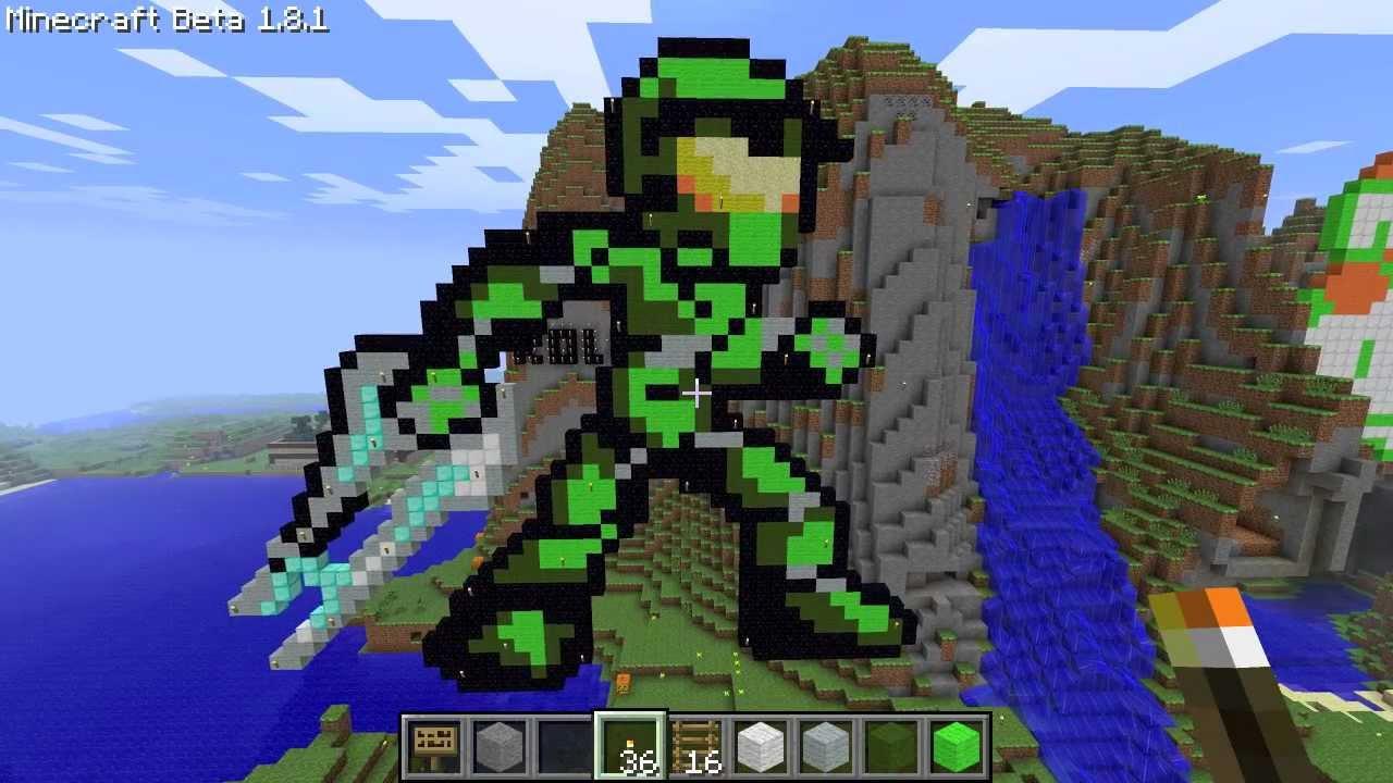 Minecraft Pixel Art Master Chief Tutorial Youtube