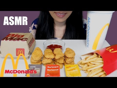 ASMR Eating McDonald's 🍟🍔 Big Mac Meal and Chicken McNuggets🍔🍟- No Talking
