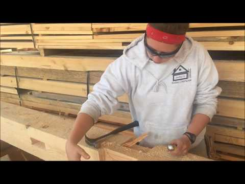 Notching 8x8 Vermont Hemlock post and beam timber frames Mortise and Tenon Joinery