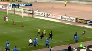Grecia: Giorgios Katidis, jugador del AEK de Atenas, saluda al estilo nazi tras marcar un gol