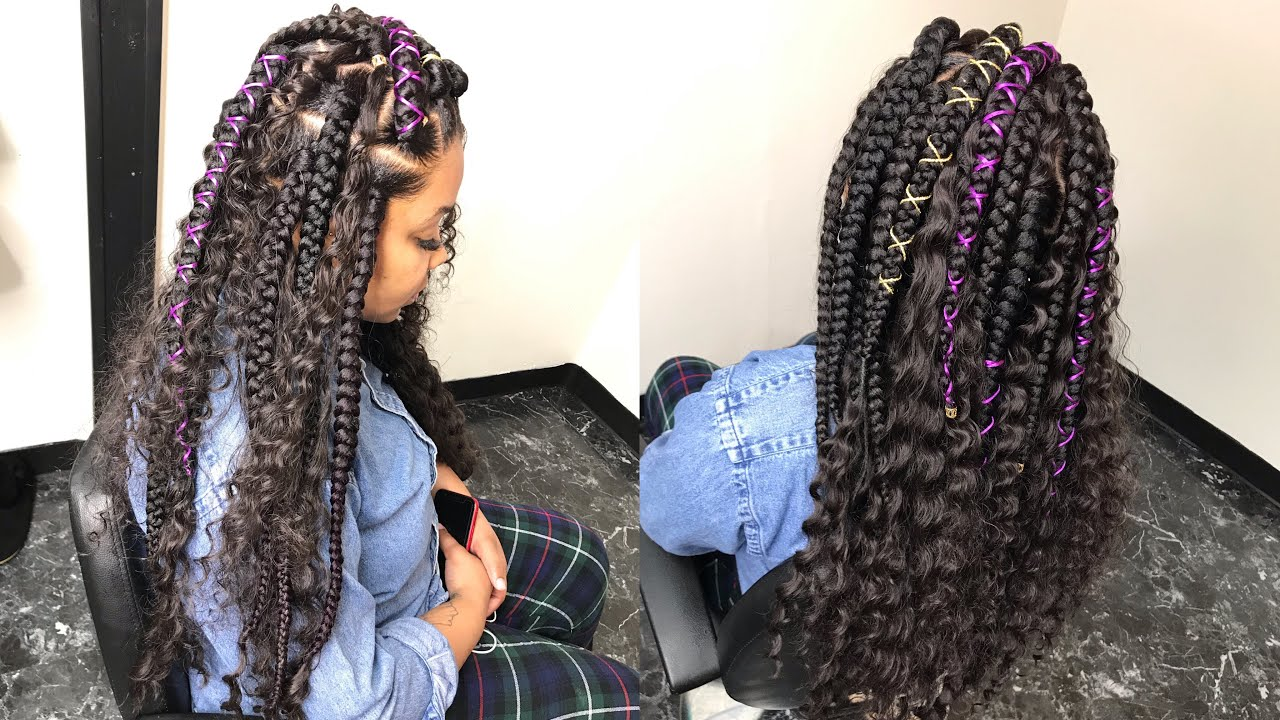 Large Free Part Shape Box Braids With Curly Hair [Video