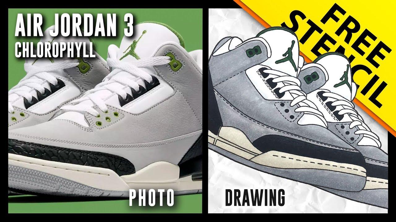1812909b18d Air Jordan 3 Chlorophyll - Sneaker Drawing w/ FREE Stencil - YouTube
