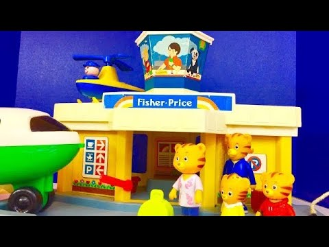 Vintage FISHER PRICE Airport And Airplane Ride With DANIEL TIGER'S NEIGHBOURHOOD Family Toys!