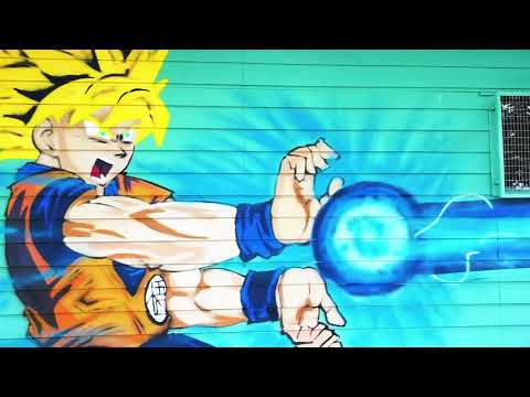 Dragon Ball Z spray paint art on the front of our Canberra gym