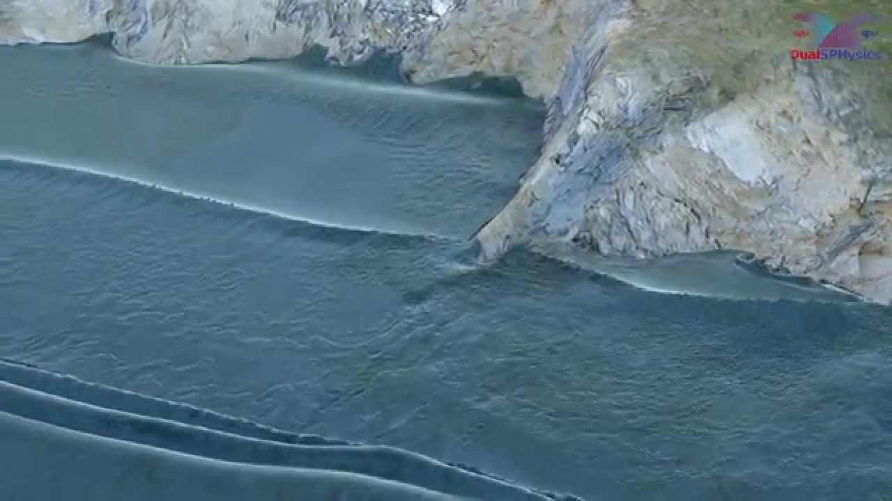 Interaction of large waves with a real coast using Blender & DualSPHysics (SPH on GPU)