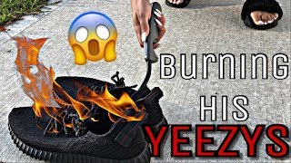 """BURNING HIS YEEZYS"" PRANK ON HUSBAND 