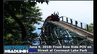 June 9, 2018: Front Row Ride POV on Blue Streak Roller Coaster at Conneaut Lake Park