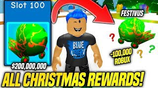 I BOUGHT ALL 100 CHRISTMAS REWARD Slots AND GOT THE TIER 100 PET IN BUBBLE GUM SIMULATOR!! (Roblox)