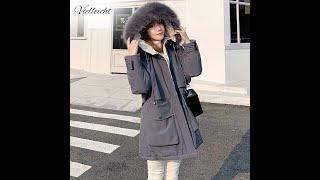 Vielleicht зимние куртки 2021 женские длинные парки женское однотонное пальто оверсайз