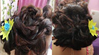 छोटे बालों में स्टाईश हेअर स्टाइल कैसे बनाये/Partywear hair style/Messy bun hair styles kaise banaye