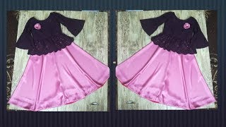 Full length umbrella frock with bell sleeves for 5year girl tutorial